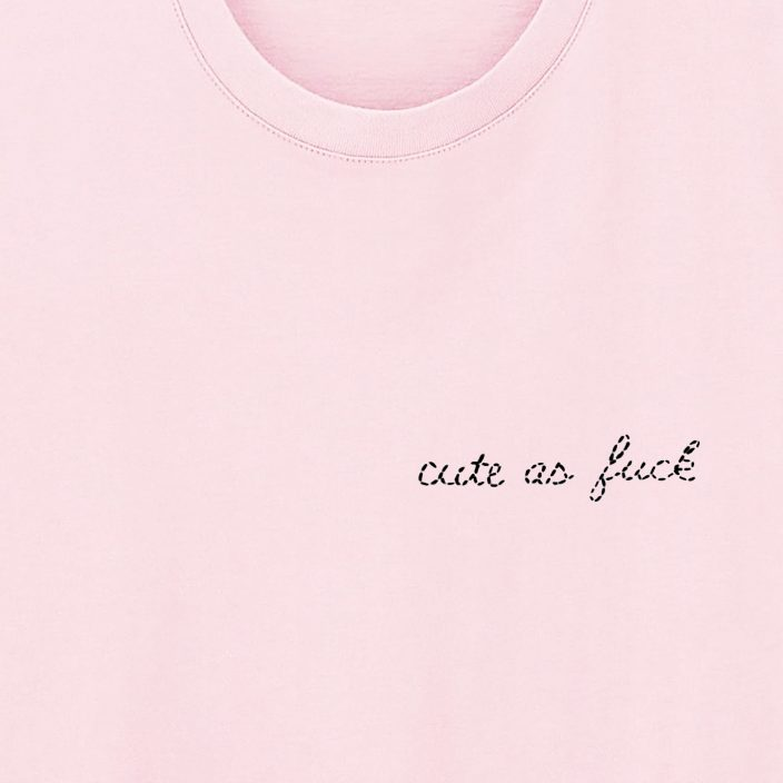 Camiseta Bordada Cute As Fuck